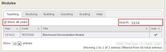 Screenshot of VLE modules list