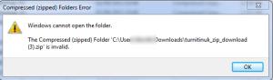 Screenshot of Turnitin Zip file error