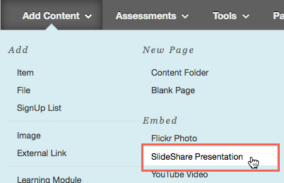 Adding a SlideShare Presentation using Add Content