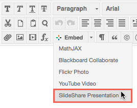 Embed a SlideShare presentation into the content editor